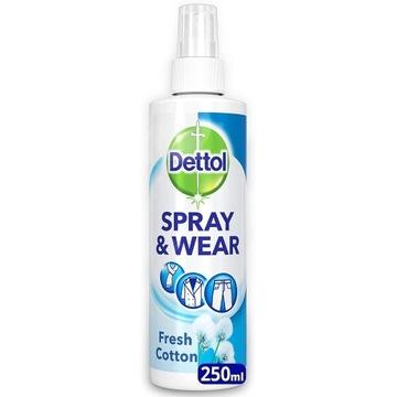 Dettol Odświeżacz Ubrania Spray 250ml Bawełna z UK