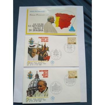 Zestaw kopert FDC Jan Paweł II - HISZPANIA 1982r