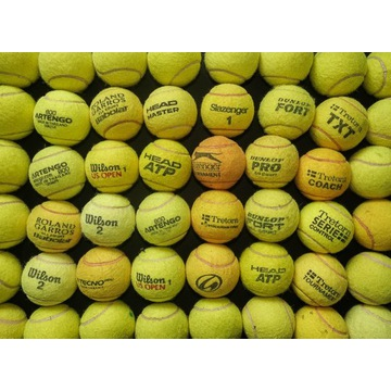 Używane piłki tenisowe, różnych marek.