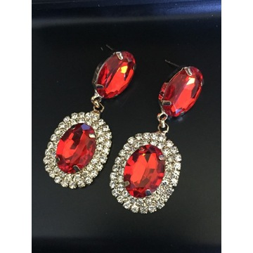 Kolczyki czerwone kryształowe