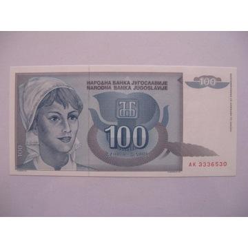 Jugosławia - 100 Dinara - 1992 - P112 - St.1