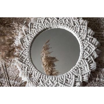 Boho lustro   mandala z makramy