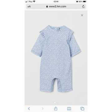 Kostium kąpielowy z filtrem UV niebieski H&M