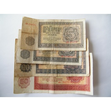 NRD marki 1955 rok 2 x 5 marek , 20 i 50 marek DDR