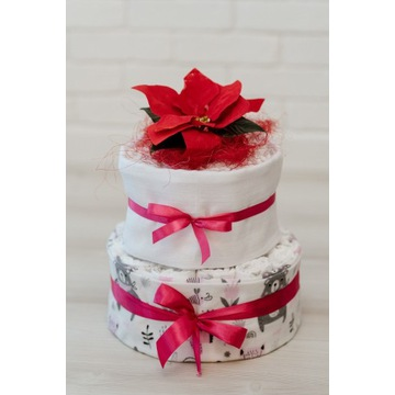 Tort z pampersów pieluszek prezent dla noworodka
