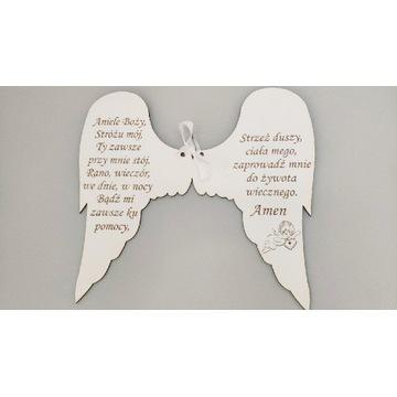 Skrzydła Anioła białe z Modlitwą dla dziecka 37cm