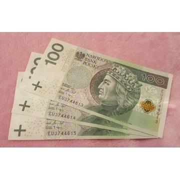 Banknoty 100 zł  kolejne numery serii EU 3 sztuki