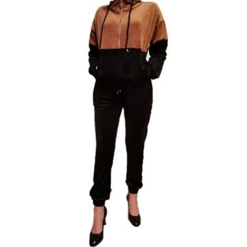 Zestaw dresowy dwukolorowy brązowo-czarny L/XL