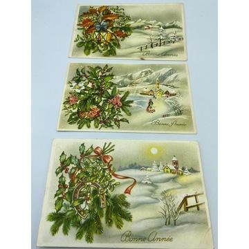 Zestaw trzech pocztówek  z zimą