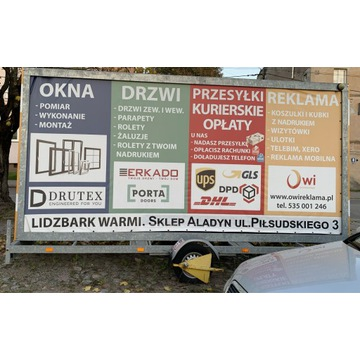 Przyczepa reklamowa led 500x240 cm + zestaw glosni