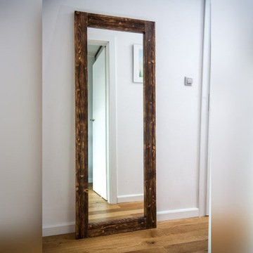 Wysokie lustro, naturalne drewno  180x70cm opalane