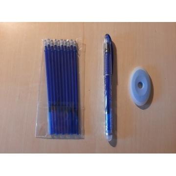 Długopis ścieralny + 10 wkładów i gumka