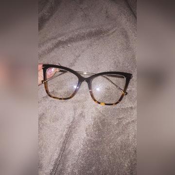 Okulary zerówki DAMSKIE kocie OKO czarne cat eye