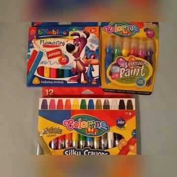 Zestaw flamastry bambino, farby i kredki colorino