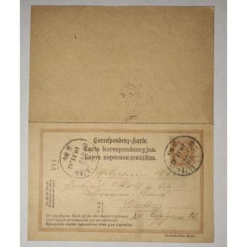 CP 15 Karta Korespondencyjna KRAKÓW 1898