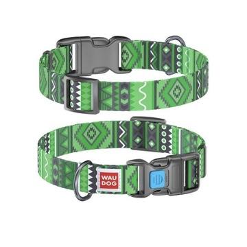 "WauDog NYLON M - obroża ""Etno green"" + Smart ID"