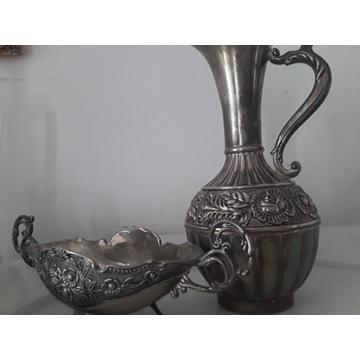 Stary srebrny wazon , dzbanek z różą