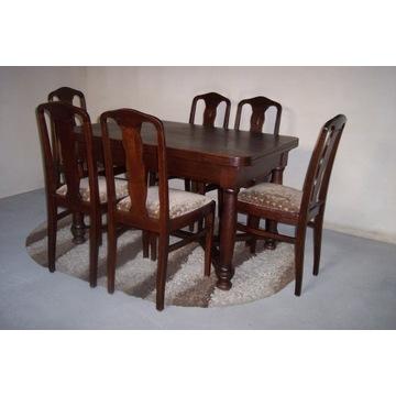 Stół z 6 krzesłami,secesja lata1920,antyk