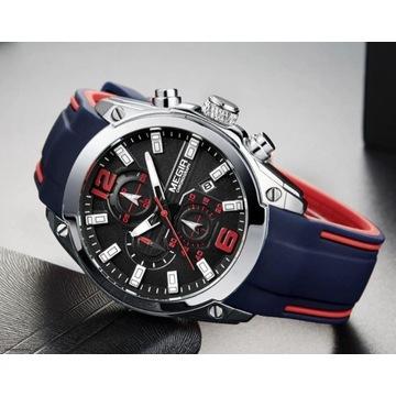 Megir męski zegarek SPORT Silikonowy pasek