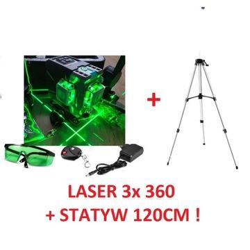 Laser krzyżowy zielony 360 poziomica DEKO + STATYW