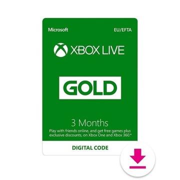 XBOX LIVE GOLD 3 MIESIĄCE KLUCZ