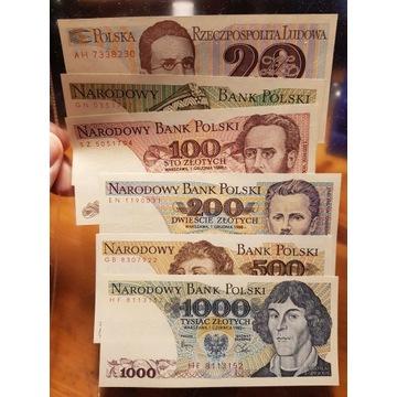 Zestaw banknotów PRL od 20 do 1000 zł 6 x UNC