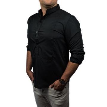 Elegancka koszula męska SLIM FIT NA LATO stójkA M
