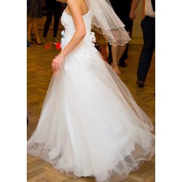Suknia ślubna, długa, jedno ramiączko, rozm.34-36