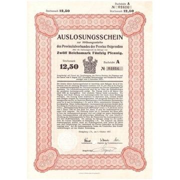 Los na loterię na 12,50 Reichsmarek - Królewiec