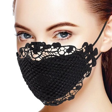 Maska KORONKA maseczka koronkowa czarna 10 sztuk