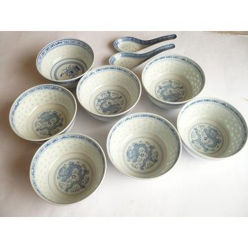 Miski ryżowe porcelana chińska 7 szt. + 2 łyżeczki