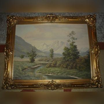 Stary olejny obraz w barokowej ramie