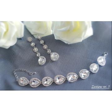 Komplet biżuteria ślubna wieczorowa cyrkonie Z5
