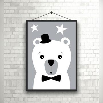 Plakat Miś MIMI czarno-biały, A4