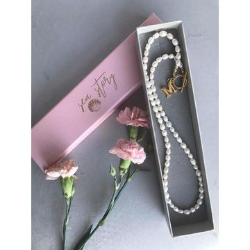 Naszyjnik choker z pereł naturalnych z literką