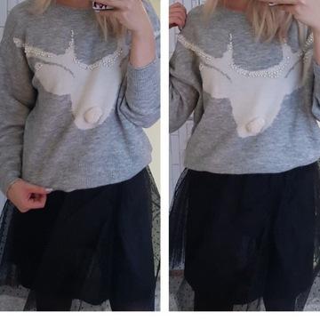 Sweter świąteczny H&M renifer pomponik S + GRATIS