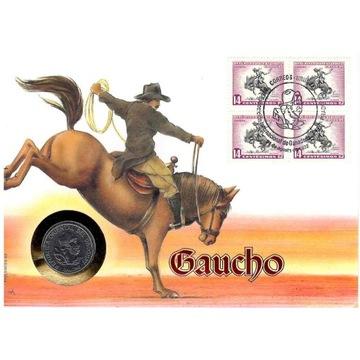 Koperta numiz 100 pesos 1989 Urugway Gaucho