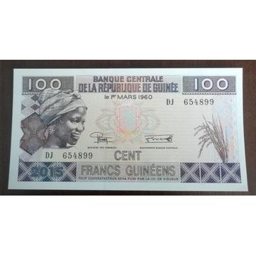 Gwinea 100 francs 2015 r. Stan UNC