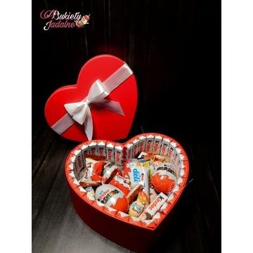 Pudełko Serce, Prezent, box Kinder, Słodki prezent