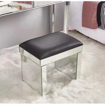 Krzesełko Lustrzane Szklane Do Toaletki Stołek