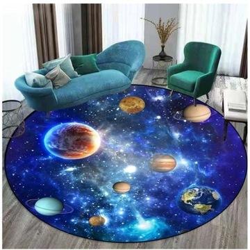 Okrągły dywan 3D, Ziemia, kosmos, 80 cm lub 100 cm