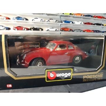 Bburago 1:18 Porsche 356 bordowy
