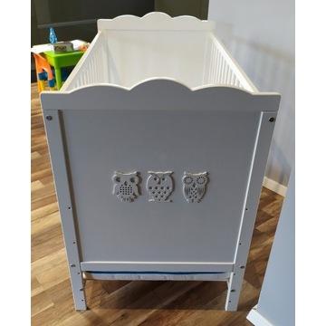 Łóżko Klupś Marsell 60x120 białe Sówki + materac