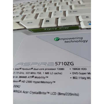 Laptop ACER ASPIRE 5710ZG 160 GB HDD DVD.