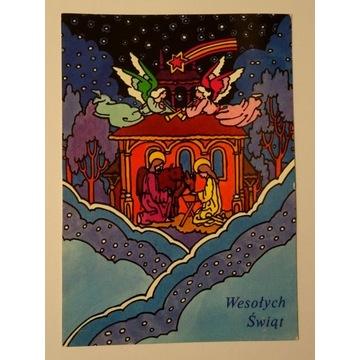 Kartka pocztówka Boże Narodzenie PRL obieg