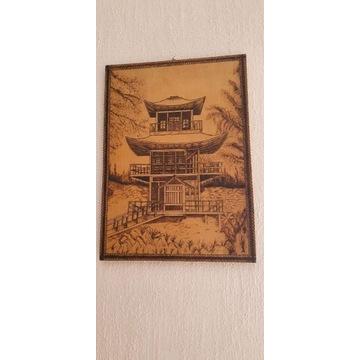 Obraz chiński wykuty w drewnie