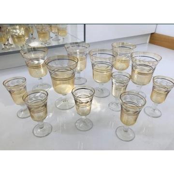 Kieliszki do wina wódki zestaw złota lamówka prl