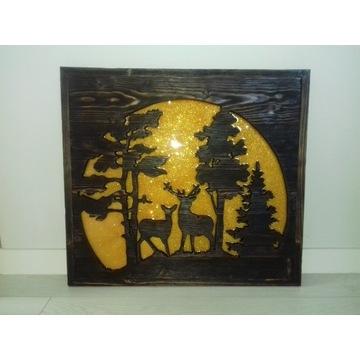 W blasku księżyca obraz z drewna rękodzieło