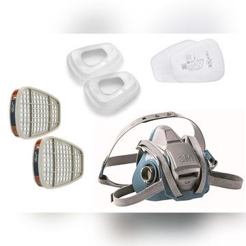 3M Maska 6502QL pochłaniacze 6055 + filtry 5935 P3