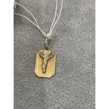 Złota złoto zawieszka medalik inri 585